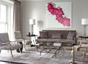classic-grey-sofa-decor-ideas-for-classic-living-room-ideas-with-grey-area-rugs-accentuated-with-red-colored-abstract-painting-on-white-basic-color