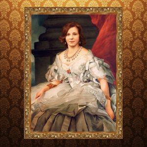 Исторический портрет женщины на холсте